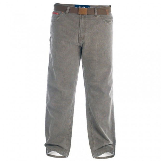 Duke London Original Fit Zip Fly Enzyme Washed Bedford Cord With Belt. Leg Length 32'' (Available from Size 40 to 58)