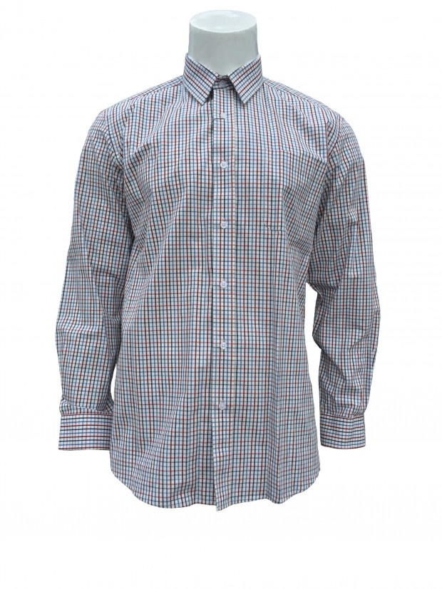 Peter Gribby Button Down Long Sleeve Multi Check Shirt