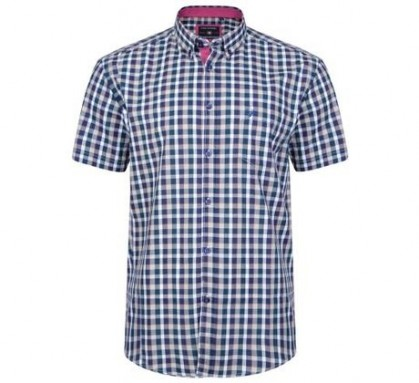 KAM Retro Check Shirt Navy
