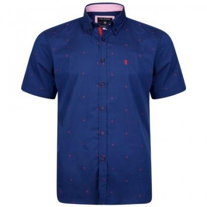 KAM Navy w/Red Dobby Print Shirt SS