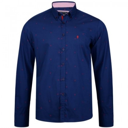 KAM Navy w/Red Dobby Print Shirt LS
