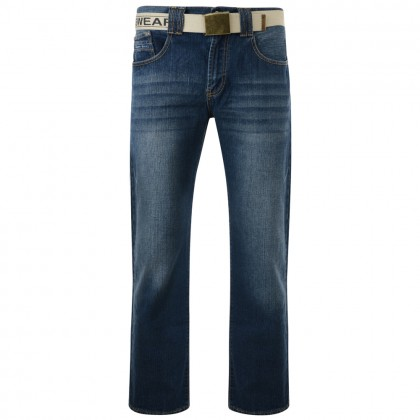 Kam Forge Regular Fit Belted Jeans. Leg Length 34'' (Available from Size 40 to 60)