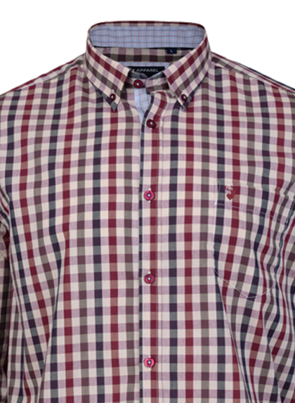 KAM Retro Check Shirt Rose