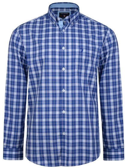 KAM Blue Check Shirt LS