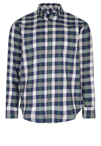 KAM Dark Ivy & Blue Check Shirt LS