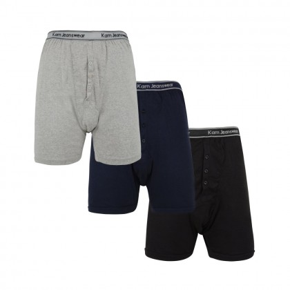 Kam Big Men's 3 Pack Jersey Boxer Short