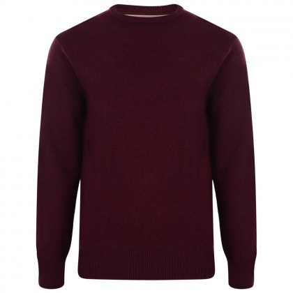 Kam Wine Crew Neck Knitted Jumper