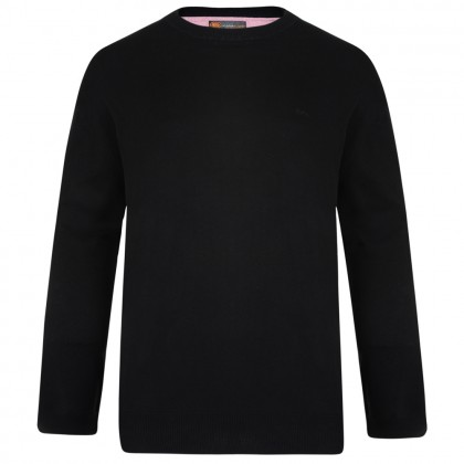 Kam Black Crew Neck Knitted Jumper