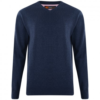 Kam Navy V Neck Knitted Jumper