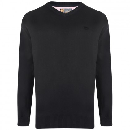 Kam Black V Neck Knitted Jumper