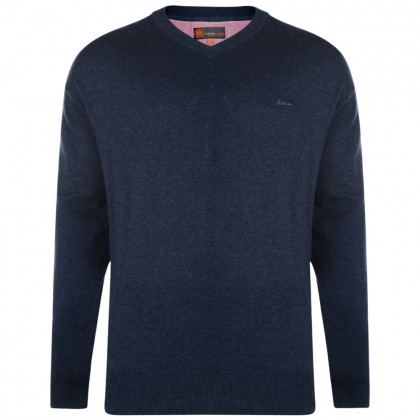Kam Denim V Neck Knitted Jumper