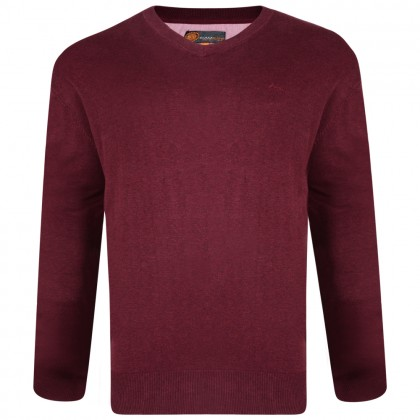 Kam Wine V Neck Knitted Jumper