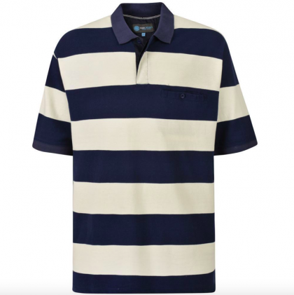 Kam Striped Polo Navy