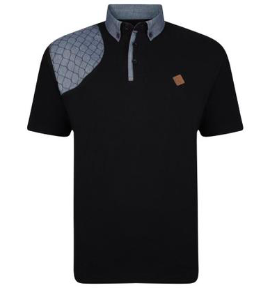 Kam Honeycomb Stitch Polo Black