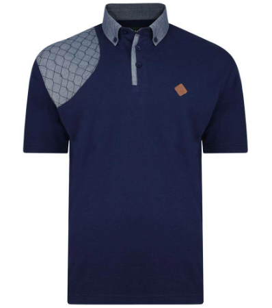 Kam Honeycomb Stich Polo Navy