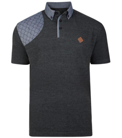 Kam Honeycomb Stich Polo Grey
